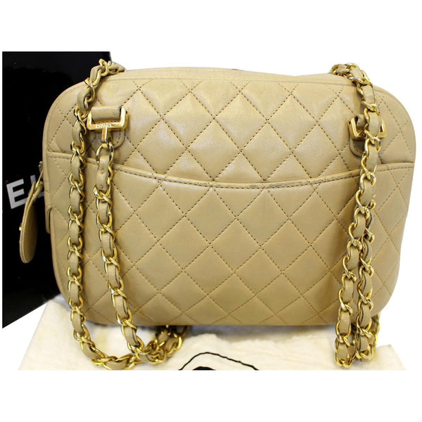 CHANEL Beige Lambskin Leather Camera Shoulder Bag-US