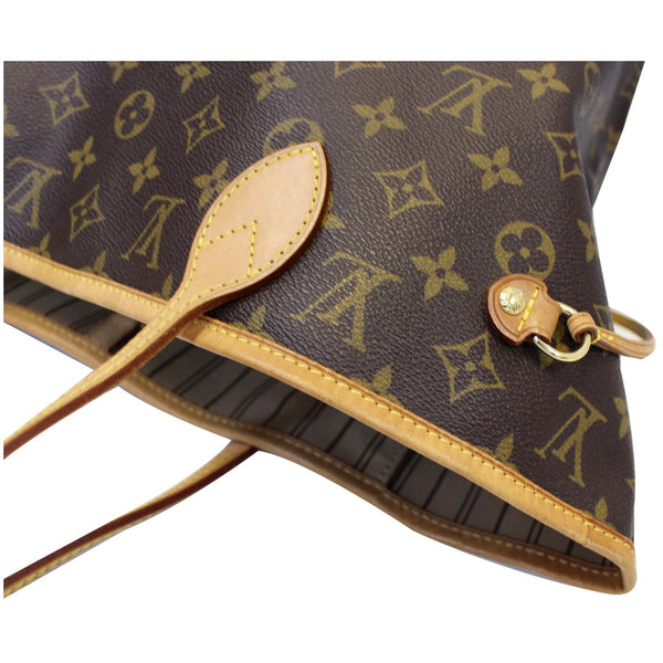 Louis Vuitton Neverfull MM Canvas Tote Shoulder Bag - corner