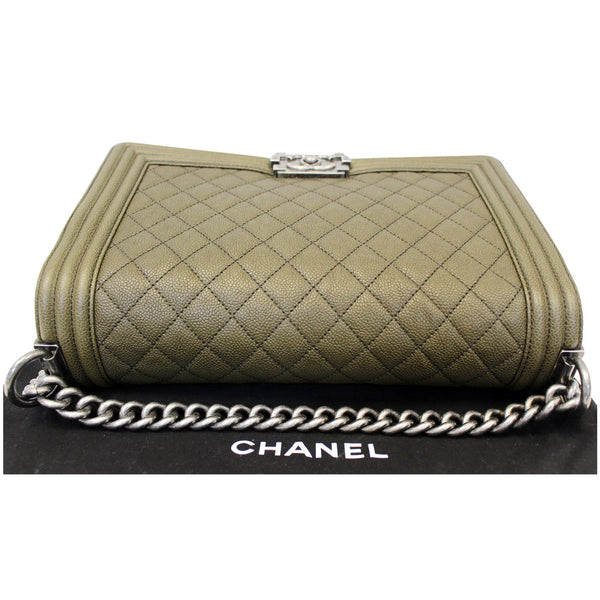 Chanel Boy Medium Flap Caviar Leather Shoulder Bag- back side
