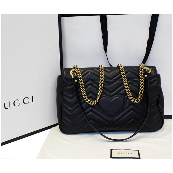 GUCCI GG Marmont Matelasse Leather Shoulder Bag Black 443496