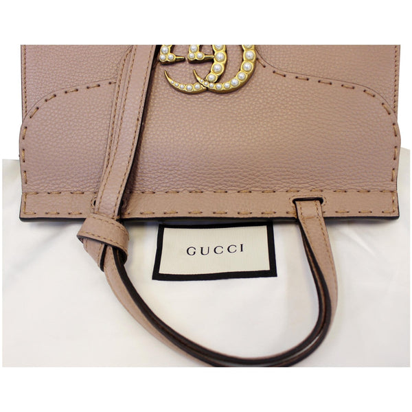 GUCCI GG Marmont Leather Top Handle Shoulder Bag Taupe 442622