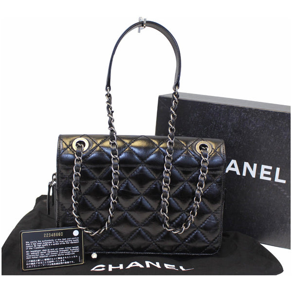 Chanel Flap CC Quilted Leather Crossbody Bag Black - strap