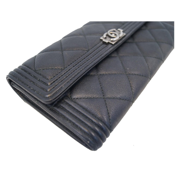 Chanel Boy Large Flap Lambskin Leather Wallet Black side view