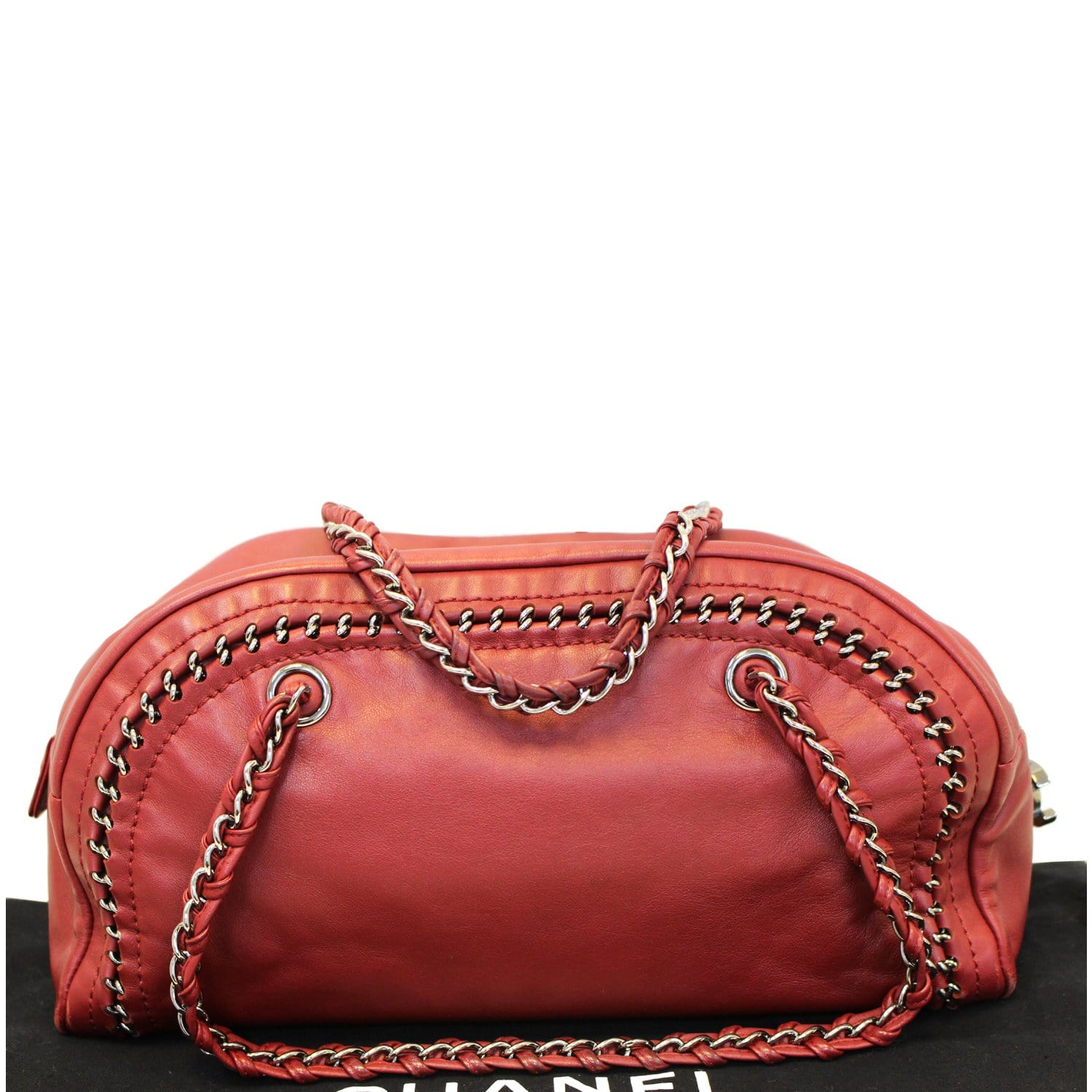 f1a5b415c99a5d CHANEL Smooth Calfskin Petit Luxe Ligne Bowler Satchel Bag Red-US