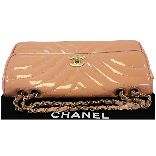 Chanel Flap Shoulder Bag Patent Leather Peach with chain