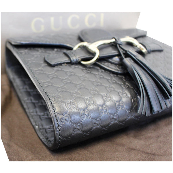 Gucci Shoulder Bag Emily Mini Micro GG Guccissima black