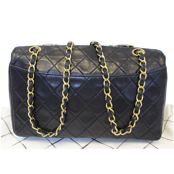 CHANEL Vintage Quilted Lambskin Leather Line Flap Bag Black-US