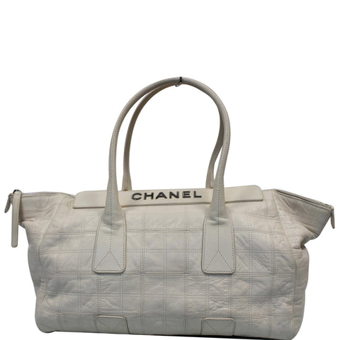CHANEL Square Stitched Lax Lambskin Tote Bag White - 15% OFF
