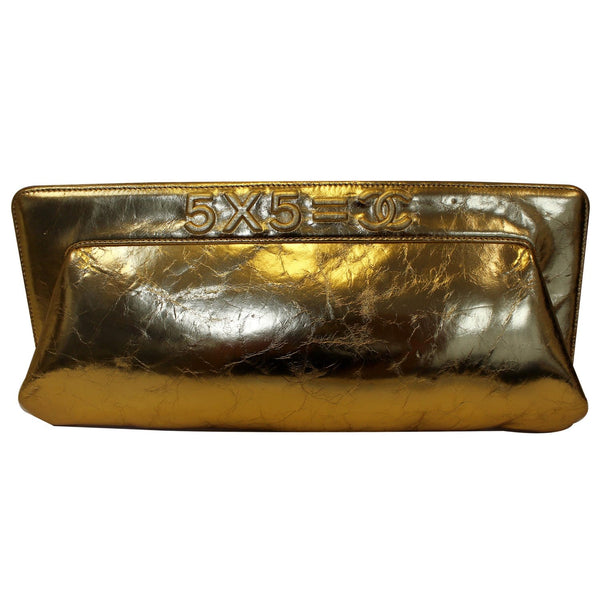 CHANEL Tweed We Need Metallic Lambskin Leather Clutch Gold