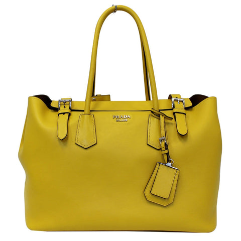 PRADA City Calf Buckle Tote Bag Yellow