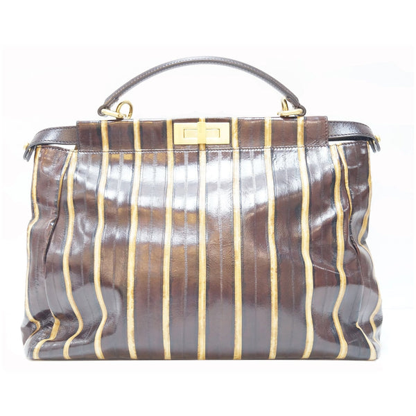 Fendi Peekaboo Striped Eel Skin Leather Shoulder Bag - front view