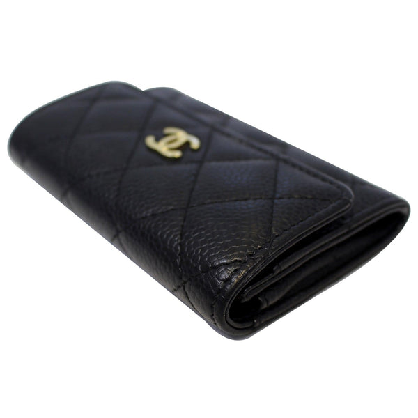 CHANEL Flap Caviar Leather Card Holder Black-US