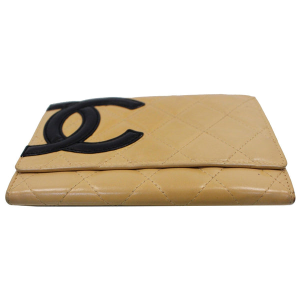 Chanel Cambon Flap Calfskin Quilted Wallet Beige  top view