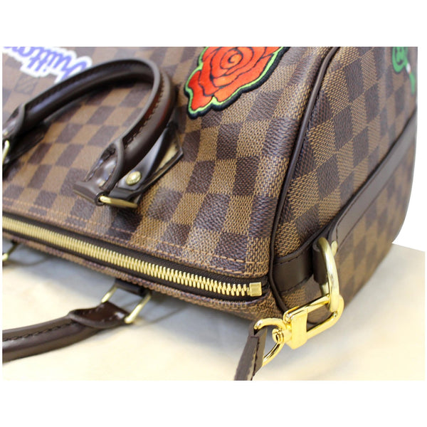Louis Vuitton Speedy 30 Patches Damier Ebene Bag Corner