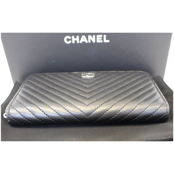 Chanel Wallet Lambskin Chevron Quilted Zip - back view