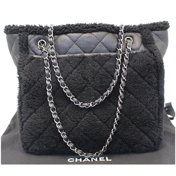 Chanel Tote Bag Cozy CC Shearling and Lambskin Black - side view