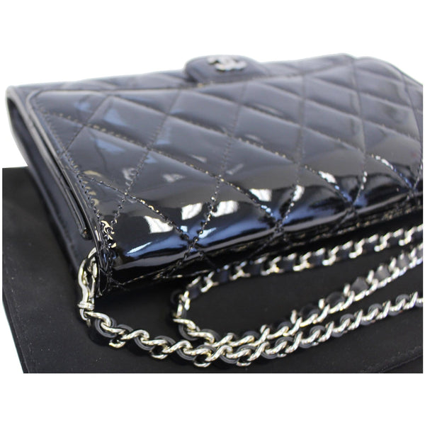 Chanel Flap Shoulder Bag Patent black Leather with chain