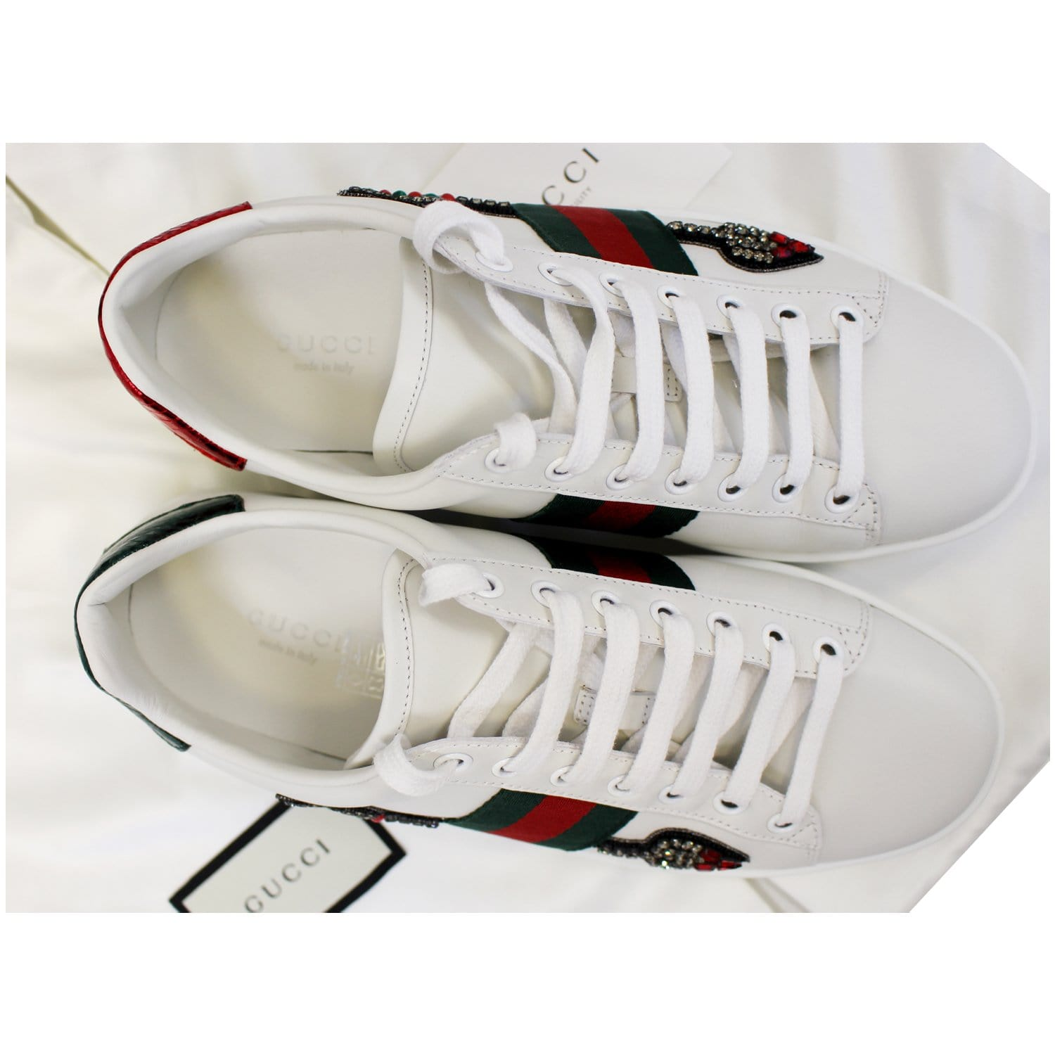 0d6b2da032c GUCCI Ace Embroidered Arrow Logo Sneakers Size US 7.5-US