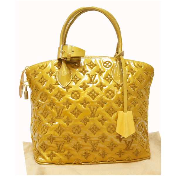 LOUIS VUITTON Monogram - Lockit lambskin Satchel Bag - front view