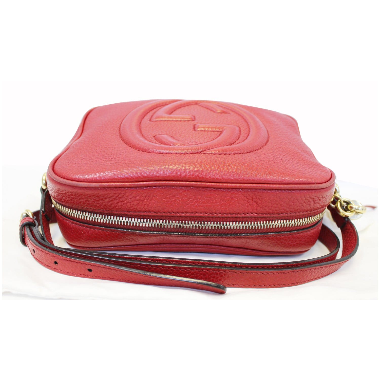 f04982446 GUCCI Soho Disco Pebbled Leather Small Crossbody Bag Red-US