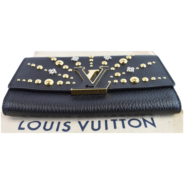 Louis Vuitton Capucines Studded Leather Wallet lv logo