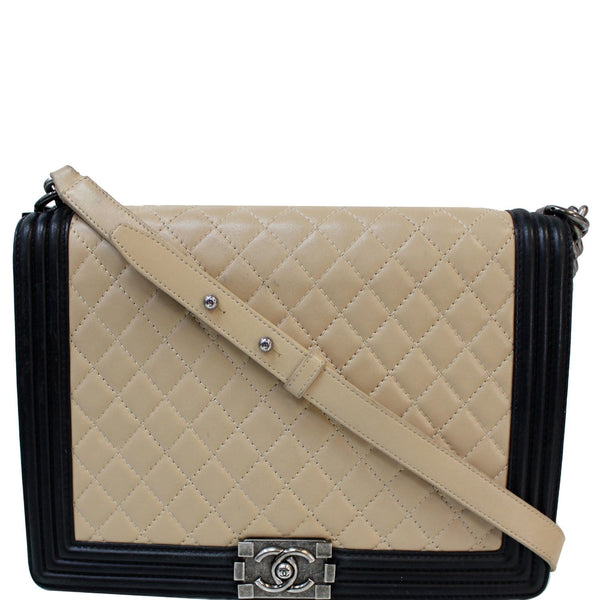 CHANEL Bi-Color Large Boy Flap Quilted Lambskin Leather Shoulder Bag Beige