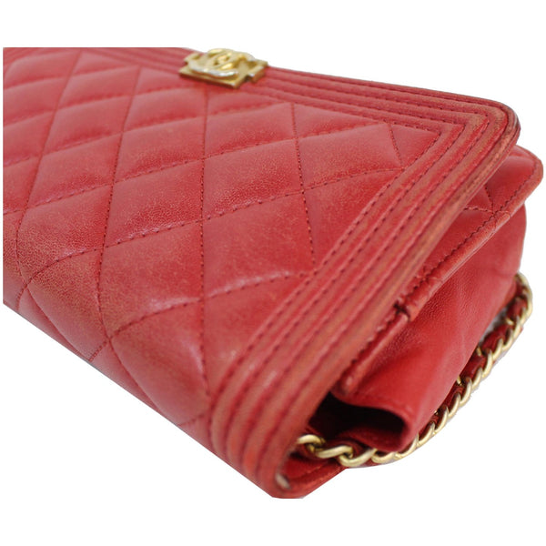 CHANEL Boy Woc Lambskin Leather Wallet On Chain Clutch Bag Red