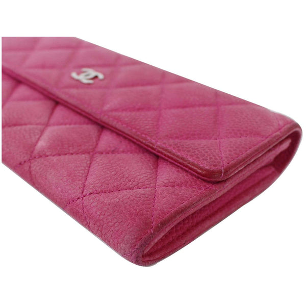 Chanel CC Caviar Leather Long Wallet Pink side view