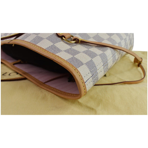 opened view lv Neverfull MM Damier Azur Shoulder Bag