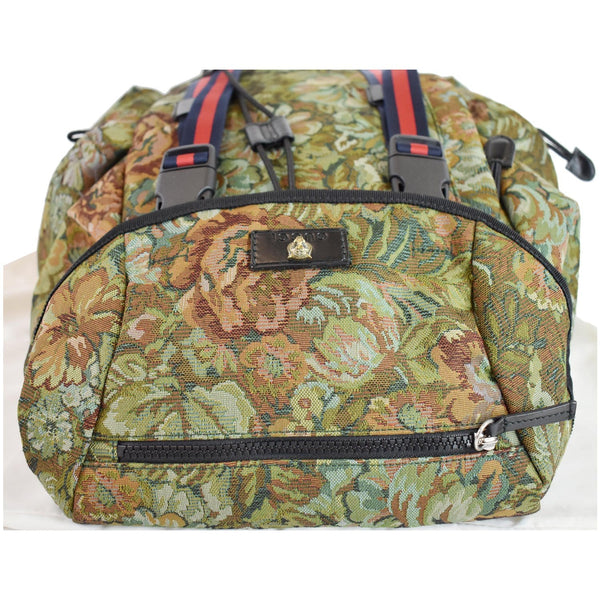Gucci Floral Brocade Leather Backpack Bag close view