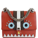 FENDI Mini Kan I Eyes Faces Leather Shoulder Bag Red