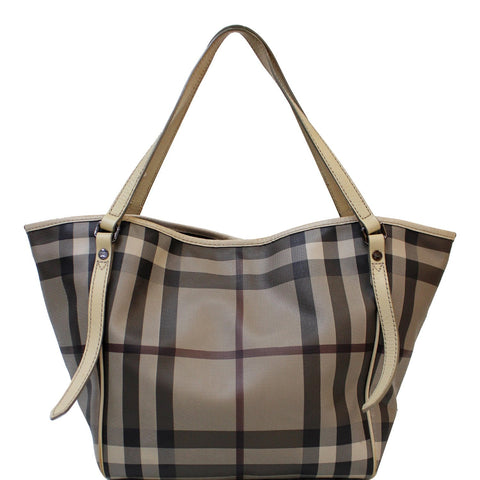 BURBERRY Canterbury Small Smoked Check Tote Bag Grey