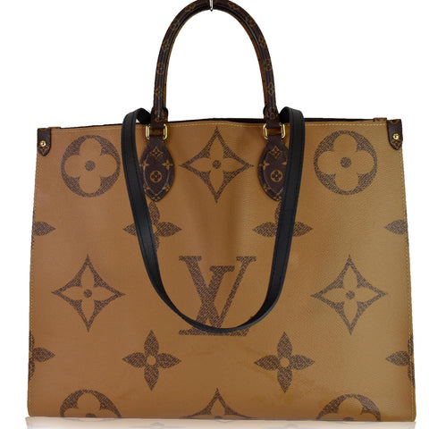 LOUIS VUITTON Onthego GM Reverse Monogram Giant Canvas Shoulder Bag Brown