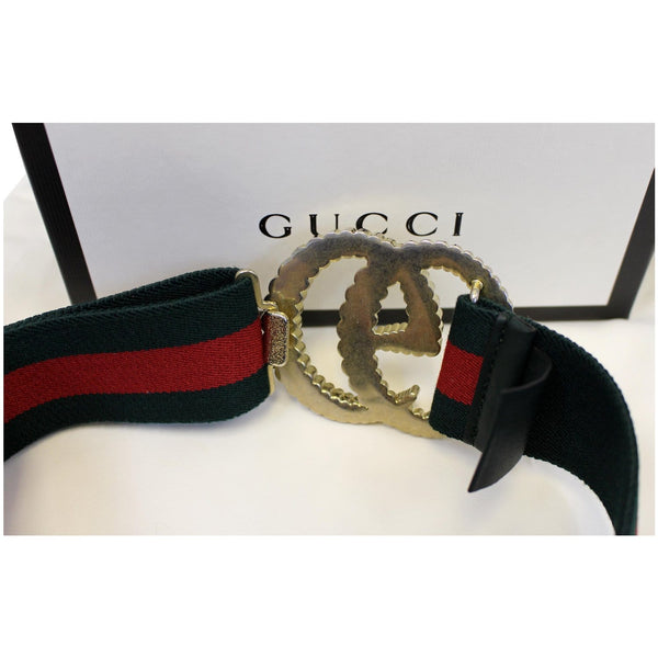 GUCCI Web Elastic with Torchon Double G Buckle Belt 524101