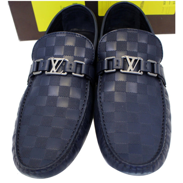 LOUIS VUITTON Hockenheim Damier Infini Moccasin Loafers Blue US 13