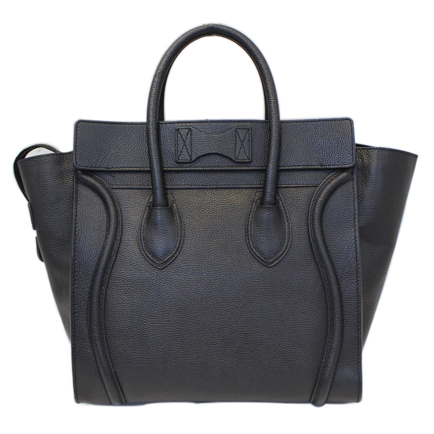 18b2a23e5cf CELINE Black Leather Mini Luggage Tote Bag-US