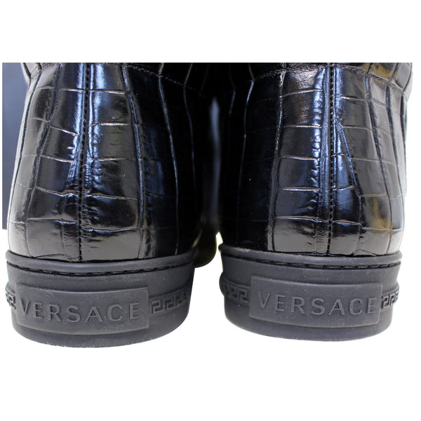 Versace Black Leather Medusa High Top Sneakers-US