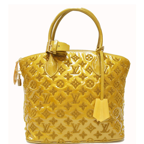 LOUIS VUITTON Monogram - Lockit lambskin Satchel Bag Mustard