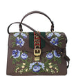 GUCCI Sylvie Embroidered Leather Medium Top Handle Bag Brown 431665