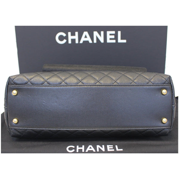 CHANEL Medium Coco Handle Caviar Leather Shoulder Bag Black