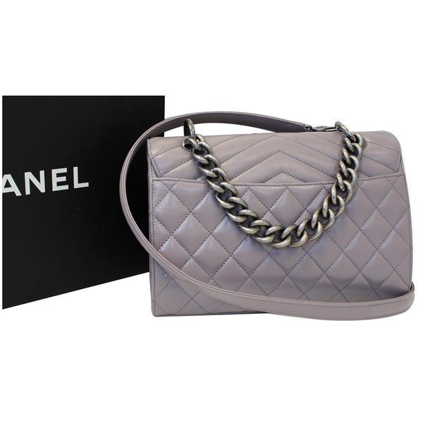 Chanel Flap Bag Quilted Sheepskin with Handle Lilac full view