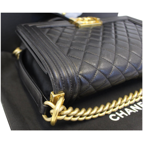 Chanel Le Boy Medium Flap Bag Caviar Leather Black side view