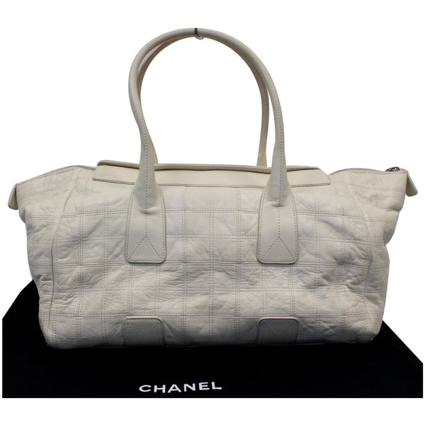 CHANEL Square Stitched Lax Lambskin Tote Bag White