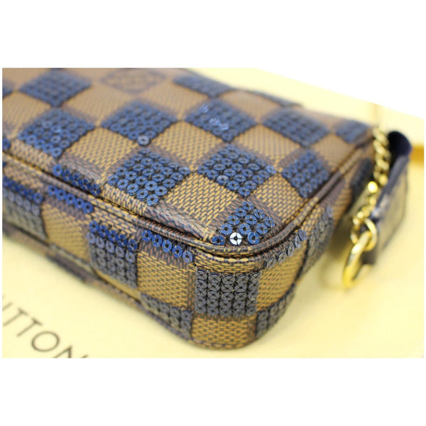 LOUIS VUITTON Mini Pochette Damier Paillettes Accessories Pouch Blue-US