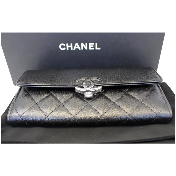 CHANEL Grained Leather Long Flap Wallet Silver-Tone Metal