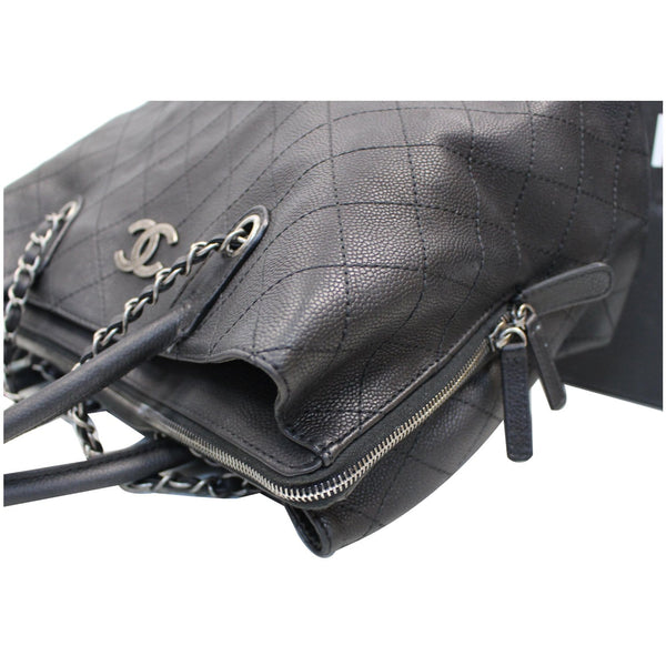 CHANEL Large Shopping Grained Vegetal Calfskin Tote Bag Black