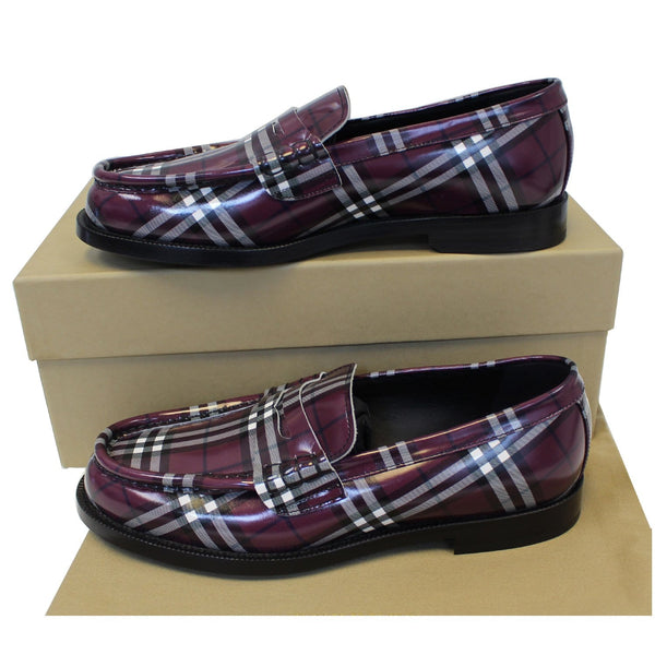 Burberry Check Leather Loafers - Authentic
