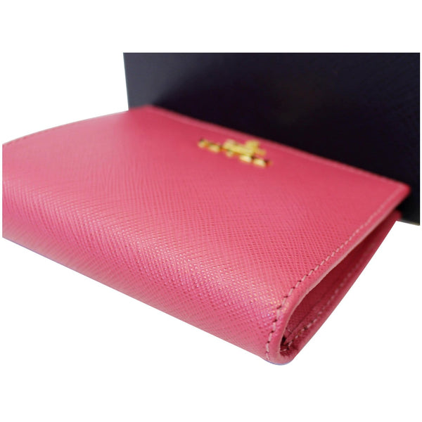 Prada Saffiano Wallet | Bifold Card Wallet Red - Closed View