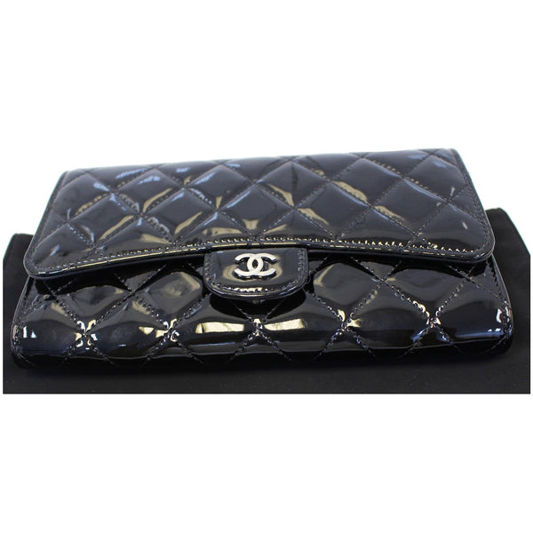 Chanel Flap Shoulder Bag Patent black Leather bottom view