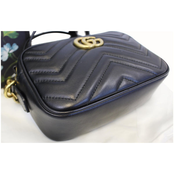 GUCCI GG Marmont Matelasse Mini Leather Crossbody Bag Black 448065